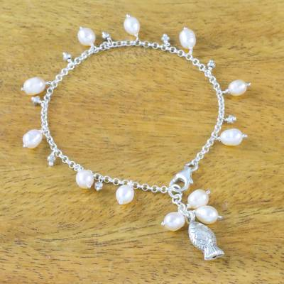 Cultured pearl charm bracelet, 'Gleaming Fish in White' - Fish Cultured Pearl Charm Bracelet in White from Thailand