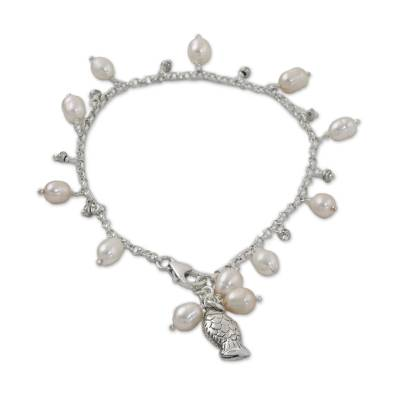 Fish Cultured Pearl Charm Bracelet in White from Thailand