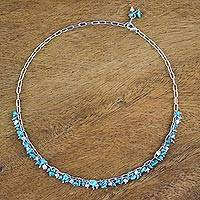Cultured pearl beaded necklace, 'Peaceful Shores' - Cultured Pearl and Reconstituted Turquoise Necklace