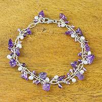 Amethyst and cultured pearl beaded bracelet, 'Violet Dream' - Amethyst and Cultured Pearl Beaded Bracelet from Thailand