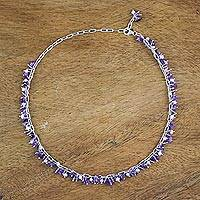 Amethyst and cultured pearl beaded bracelet, 'Thai Magic' - Amethyst and Cultured Pearl Beaded Necklace from Thailand