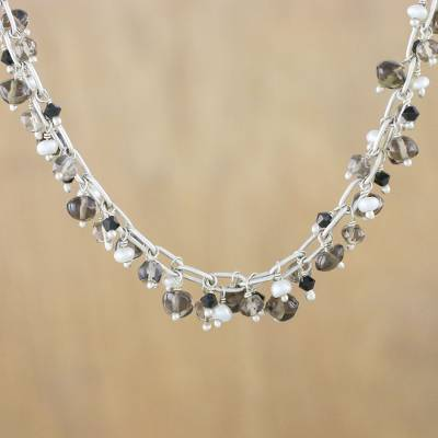 Smoky quartz and cultured pearl beaded necklace, 'Thai Magic' - Smoky Quartz and Pearl Beaded Necklace from Thailand
