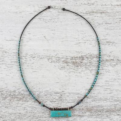 Multi-gemstone beaded pendant necklace, 'Sea and Earth' - Multi Gemstone Beaded Necklace in Turquoise and Brown Hues