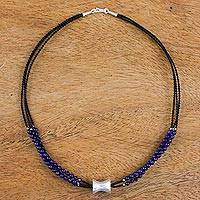 Lapis lazuli and silver pendant necklace, 'Midnight in Lampang' - Three Strand Lapis Lazuli Necklace with Silver Pendant