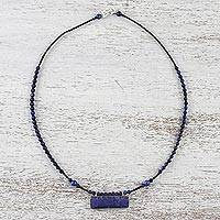Lapis lazuli and quartz beaded pendant necklace, 'Ocean Blue' - Lapis Lazuli and Quartz Beaded Pendant Necklace