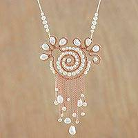 Cultured pearl pendant necklace, 'Bohemian Sojourn' - Cultured Pearl Pendant Necklace from Thailand