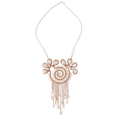 Cultured pearl pendant necklace, 'Bohemian Sojourn' - Cultured Pearl Pendant Necklace from Thailand