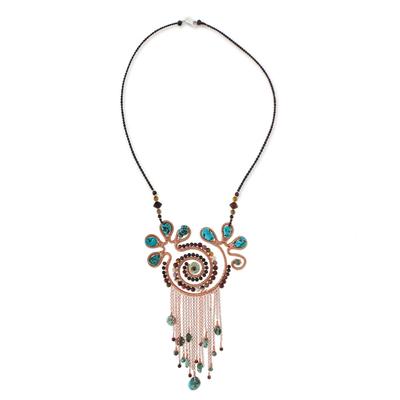 Multi-gemstone pendant necklace, 'Bohemian Sojourn' - Bohemian Style Multi-Gemstone Pendant Necklace