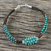 Silver beaded pendant bracelet, 'Aqua Hyacinth' - Calcite Beaded Pendant Bracelet from Thailand