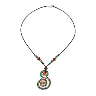 Tiger's eye and jasper pendant necklace, 'Gentle Love' - Tiger's Eye and Jasper Pendant Necklace from Thailand