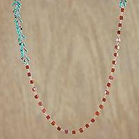 Jasper beaded long necklace, 'Red Cubes' - Jasper and Recon Turquoise Necklace from Thailand