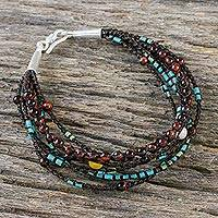 Multi-gemstone beaded bracelet, 'Bohemian Mix' - Multi-Strand Cord Bracelet with Assorted Gemstones