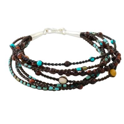 Multi-gemstone beaded bracelet, 'Bohemian Mix' - Multi-Strand Cord Bracelet with Assorted Gemstones