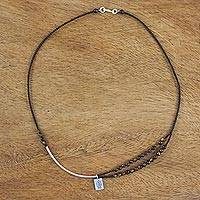 Tiger's eye beaded pendant necklace, 'Seasonal Fish' - Tiger's Eye and Karen Silver Fish Necklace from Thailand