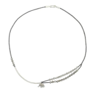 Agate beaded pendant necklace, 'Sensational Elephant' - Agate and Silver Elephant Necklace from Thailand