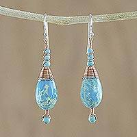 Beaded dangle earrings, 'Ornate Rain' - Magnesite and Calcite Dangle Earrings from Thailand