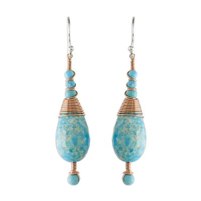 Beaded dangle earrings, 'Ornate Rain' - Magnesite and Calcite Dangle Earrings from Thailand