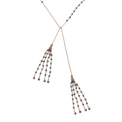 Garnet and quartz wrap necklace, 'Beautiful Showers' - Garnet and Quartz Beaded Wrap Necklace from Thailand