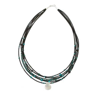 Silver beaded pendant necklace, 'Exotic Karen' - Agate and Silver Beaded Pendant Necklace from Thailand