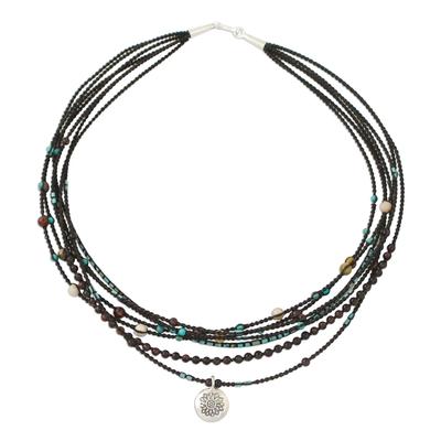 Multi-gemstone beaded pendant necklace, 'Exciting Karen' - Multi-Gemstone Beaded Pendant Necklace from Thailand