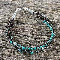 Agate beaded macrame bracelet, 'Mix of Sky' - Agate Recon Turquoise and Calcite Bracelet from Thailand