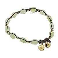 Quartz beaded macrame bracelet, 'Frosty Green' - Green Quartz Beaded Macrame Bracelet from Thailand