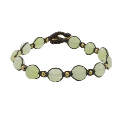Green Quartz Beaded Macrame Bracelet from Thailand