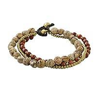 Jasper beaded bracelet, 'Love the Earth' - Multi-Strand Jasper and Brass Beaded Bracelet from Thailand