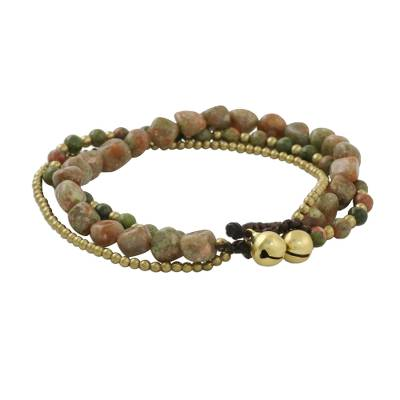 Multi-Strand Unakite and Brass Beaded Bracelet from Thailand