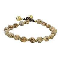 Jasper beaded bracelet, 'Earthen Color' - Jasper and Brass Beaded Bracelet from Thailand