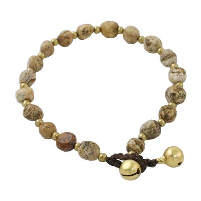 Jasper beaded bracelet, 'Earthen Color' - Jasper and Brass Beaded Bracelet from Thailand