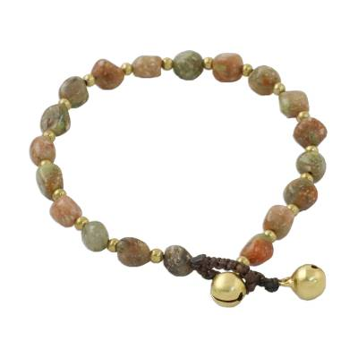 Natural Unakite and Brass Beaded Bracelet from Thailand