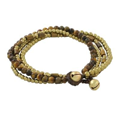 Tiger's eye beaded bracelet, 'Earthen Beads' - Multi-Strand Tiger's Eye Beaded Bracelet from Thailand