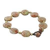 Unakite beaded bracelet, 'Round Earth' - Natural Round Unakite Beaded Bracelet from Thailand