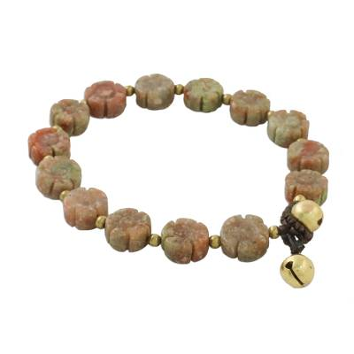 Floral Unakite and Brass Beaded Bracelet from Thailand
