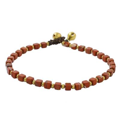 Jasper beaded anklet, 'Brilliant Day' - Jasper and Brass Beaded Anklet from Thailand