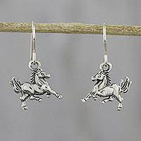 Sterling silver dangle earrings, 'Galloping Stallions' - Sterling Silver Horse Dangle Earrings from Thailand