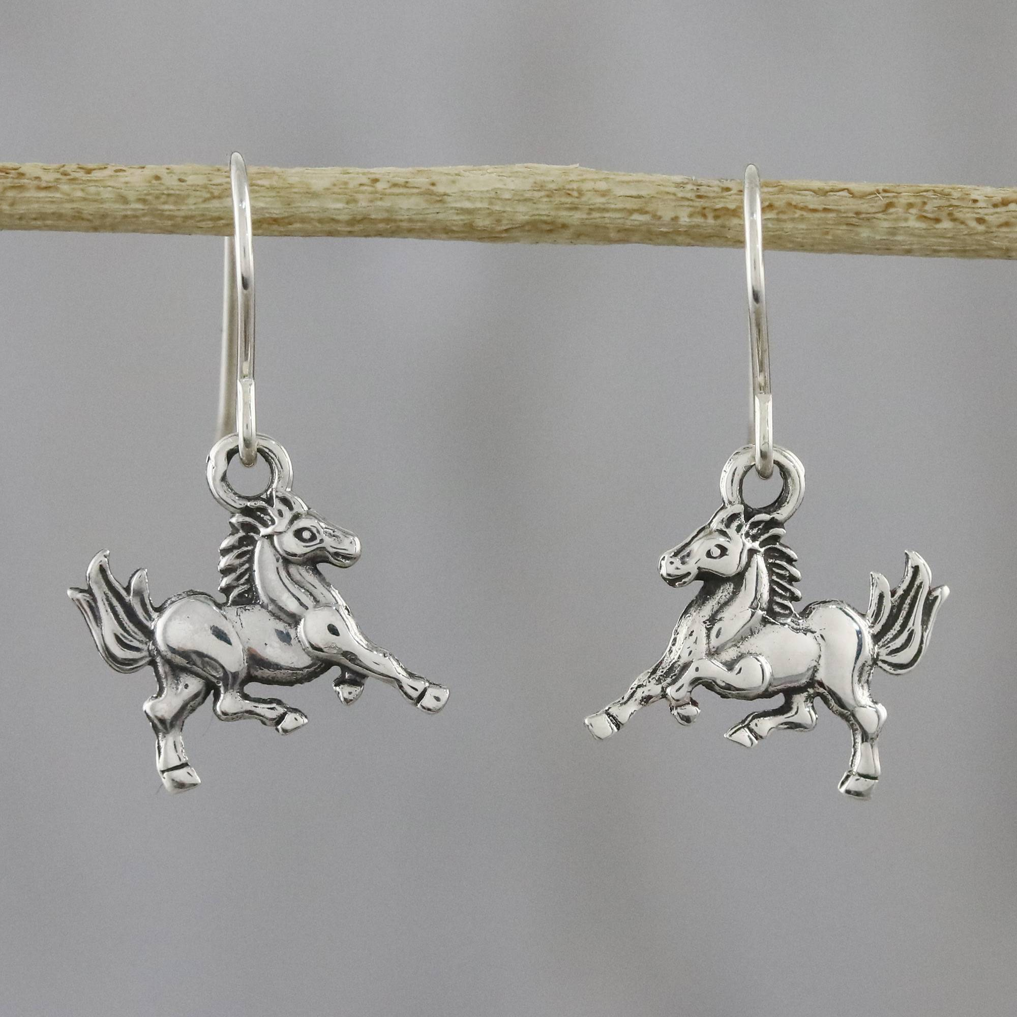 Childrens 925 Sterling Silver Horse Ear Studs So Chic Jewels