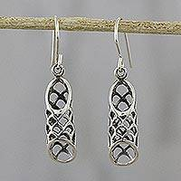 Sterling silver dangle earrings, 'Chiang Mai Lattice' - Sterling Silver Cylindrical Dangle Earrings from Thailand