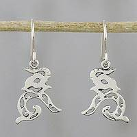 Sterling silver dangle earrings, 'Elephant Song' - Sterling Silver Elephant Dangle Earrings from Thailand