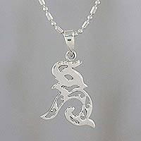 Sterling silver pendant necklace, 'Elephant Melody' - Sterling Silver Elephant Pendant Necklace from Thailand