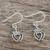 Sterling silver dangle earrings, 'Crowned Hearts' - Thai Sterling Silver Dangle Earrings with Crowns and Hearts (image 2b) thumbail