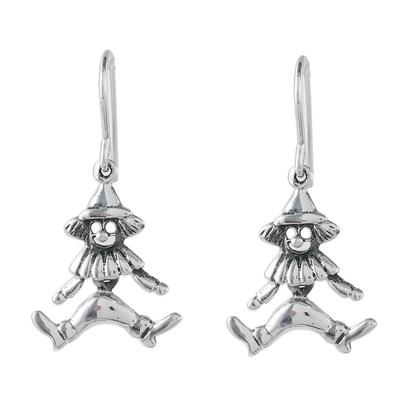 Thai Sterling Silver Clown Figure Dangle Earrings