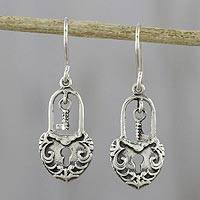 Sterling silver dangle earrings, 'Unlock My Heart' - Thai Sterling Silver Heart Lock and Key Dangle Earrings