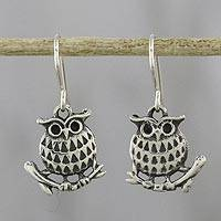 Sterling silver dangle earrings, 'Chiang Mai Owl' - Sterling Silver Perched Owl Dangle Earrings from Thailand