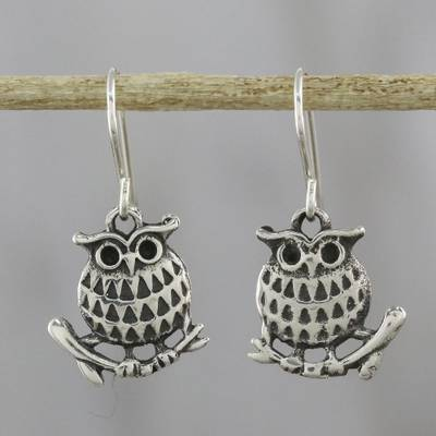 Sterling Silver Dangle Earrings Chiang Mai Owl Perched
