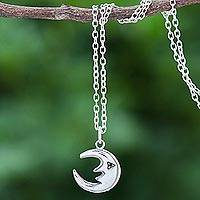 Sterling silver pendant necklace, 'By the Light of the Moon' - Sterling Silver Crescent Moon Pendant Necklace from Thailand