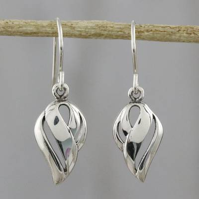 Novica Sterling silver dangle earrings, Thai Breezes - Fair Trade Sterling Silver Dangle Earrings
