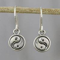 Sterling silver dangle earrings, 'The Yin to My Yang' - Sterling Silver Yin Yang Dangle Earrings from Thailand