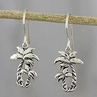 Sterling silver dangle earrings, 'Paradise Palms' - Sterling Silver Twin Palm Dangle Earrings from Thailand